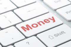 Conceito do negócio: Dinheiro no fundo do teclado de computador Imagem de Stock