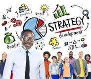 Conceito do negócio do planeamento de mercado do objetivo do desenvolvimento da estratégia Foto de Stock