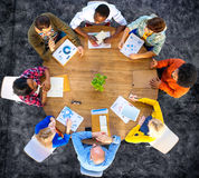 Conceito do negócio do planeamento de uma comunicação da análise de dados da reunião Imagens de Stock
