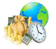 Conceito do negócio do tempo do dinheiro do globo do mundo Imagem de Stock