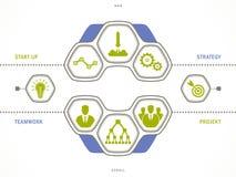 Conceito do negócio do vetor - comece acima elementos infographic do projeto Foto de Stock