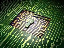 Conceito do negócio: Dobrador com o buraco da fechadura no fundo da placa de circuito Imagens de Stock Royalty Free
