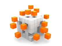 Conceito do negócio dos trabalhos de equipa com cubos verdes Imagens de Stock Royalty Free