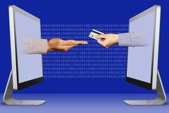 Conceito do negócio, duas mãos das exposições defendendo o gesto e a mão com cartão de crédito ilustração 3D imagem de stock