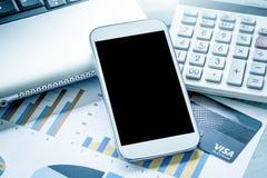 Conceito do negócio, funcionamento, telefone esperto, tabuleta, telefone celular Fotografia de Stock