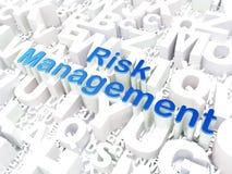 Conceito do negócio: Gestão de riscos no fundo do alfabeto Fotos de Stock Royalty Free