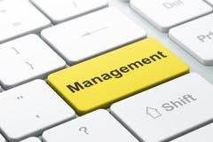 Conceito do negócio: Gestão no fundo do teclado de computador Fotos de Stock