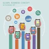 Conceito do negócio global no projeto liso Fotos de Stock Royalty Free