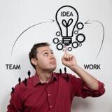 Conceito do negócio: Ideias e trabalhos de equipa Fotos de Stock Royalty Free