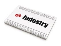 Conceito do negócio: jornal com indústria e engrenagens Foto de Stock Royalty Free