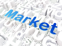Conceito do negócio: Mercado no fundo do alfabeto Foto de Stock Royalty Free