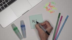 Conceito do negócio Mulher que escreve o PLANO no bloco de notas, fim acima Portátil na tabela filme