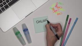 Conceito do negócio Mulher que escreve a OPERAÇÃO BANCÁRIA EM LINHA no bloco de notas, fim acima video estoque