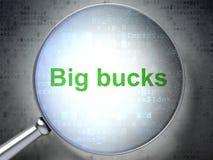 Conceito do negócio: Quantias chorudas com vidro ótico Fotografia de Stock