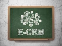 Conceito do negócio: Símbolo da finança e E-CRM sobre Fotos de Stock Royalty Free