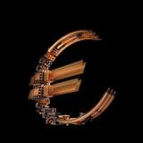 Conceito do negócio Símbolo de moeda do Euro dos microchip no fundo preto Foto de Stock
