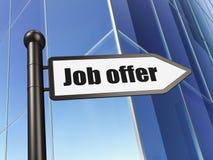 Conceito do negócio: sinal Job Offer no fundo da construção Foto de Stock