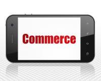 Conceito do negócio: Smartphone com comércio na exposição Fotos de Stock