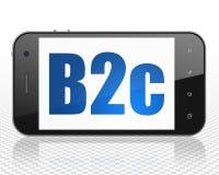 Conceito do negócio: Smartphone com o B2c na exposição Foto de Stock Royalty Free