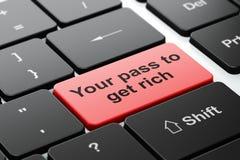 Conceito do negócio: Sua passagem a obter rica no fundo do teclado de computador Fotografia de Stock