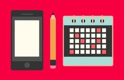 Conceito do negócio - vector o projeto liso do calendário, do telefone celular e do lápis ilustração stock