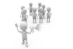 conceito do orador e da multidão do homem 3d Fotos de Stock Royalty Free