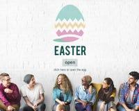 Conceito do ovo de Bunny Rabbit Spring Season Tradition da Páscoa Foto de Stock Royalty Free