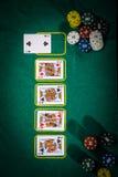 Conceito do pôquer com os cartões na tabela verde categorias da Mão-classificação: Quatro de um tipo Imagem de Stock