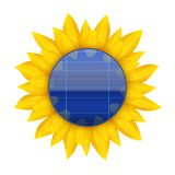 Conceito do painel solar bonde azul com Imagem de Stock Royalty Free