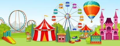 Conceito do parque de diversões ilustração do vetor