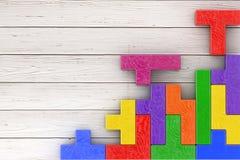 Conceito do pensamento lógico Bloco de madeira das formas coloridas diferentes Fotos de Stock