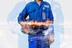 Conceito do petróleo do trabalhador foto de stock royalty free