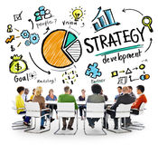 Conceito do planeamento de mercado do objetivo do desenvolvimento da estratégia Fotografia de Stock