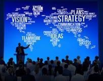 Conceito do planeamento de missão da visão do mundo da análise da estratégia Foto de Stock