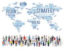 Conceito do planeamento de missão da visão do mundo da análise da estratégia Fotografia de Stock