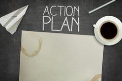 Conceito do plano de ação no quadro-negro preto com vazio Imagens de Stock Royalty Free