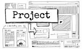 Conceito do plano do esquema do Web site da ideia do projeto Foto de Stock Royalty Free
