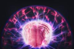 Conceito do poder de cérebro com raios claros abstratos imagem de stock royalty free