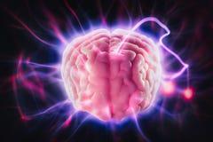 Conceito do poder de cérebro com raios claros abstratos Foto de Stock Royalty Free