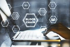Conceito do portátil de Blockchain Imagens de Stock