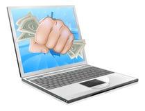 Conceito do portátil do punho do dinheiro Fotografia de Stock Royalty Free