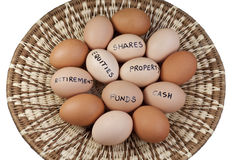 Conceito do portfólio de investimento do ovo da cesta Fotografia de Stock