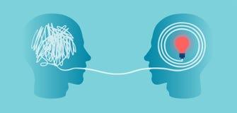 Conceito do processo da compreensão e da comunicação ilustração royalty free