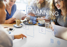 Conceito do processo das soluções da discussão da estratégia do planeamento Imagem de Stock Royalty Free