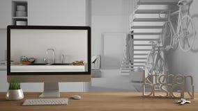 Conceito do projeto do desenhista do arquiteto, tabela de madeira com chaves da casa, letras 3D e cozinha mostrando desktop com e ilustração stock