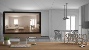 Conceito do projeto do desenhista do arquiteto, tabela de madeira com chaves da casa, letras 3D, e desktop que mostra o esboço, e ilustração royalty free