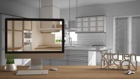 Conceito do projeto do desenhista do arquiteto, tabela de madeira com chaves da casa, letras 3D e desktop que mostram o esboço, m ilustração do vetor