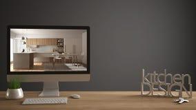 Conceito do projeto do desenhista do arquiteto, tabela de madeira com chaves da casa, letras 3D que fazem a cozinha das palavras  Fotografia de Stock Royalty Free