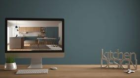 Conceito do projeto do desenhista do arquiteto, tabela de madeira com chaves da casa, letras 3D que fazem a cozinha das palavras  Fotos de Stock Royalty Free