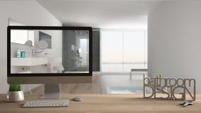 Conceito do projeto do desenhista do arquiteto, tabela de madeira com chaves, letras 3D que fazem o banheiro das palavras projeta Imagens de Stock Royalty Free